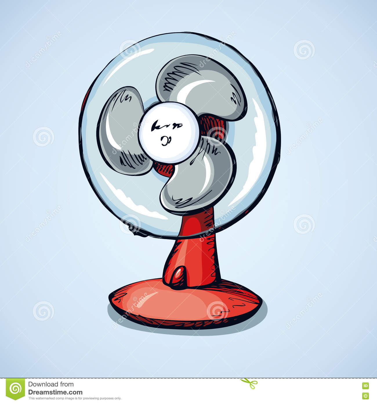 Small Plastic Turbocharger: Table Fan. Vector Drawing Stock Vector. Image Of Cold