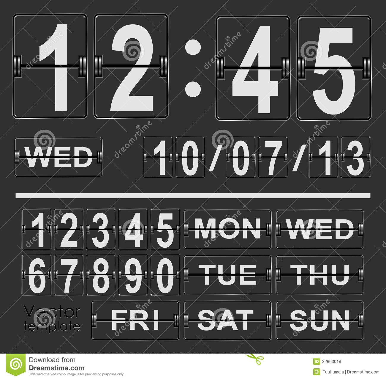 table flip clock display template royalty free stock