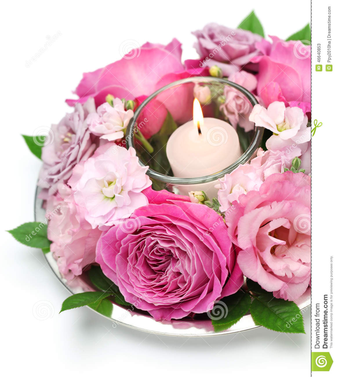 table flower arrangement with candle stock photo image. Black Bedroom Furniture Sets. Home Design Ideas