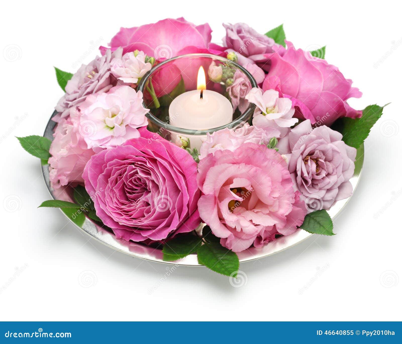 Table flower arrangement with candle stock photo image - Petites compositions florales pour table ...