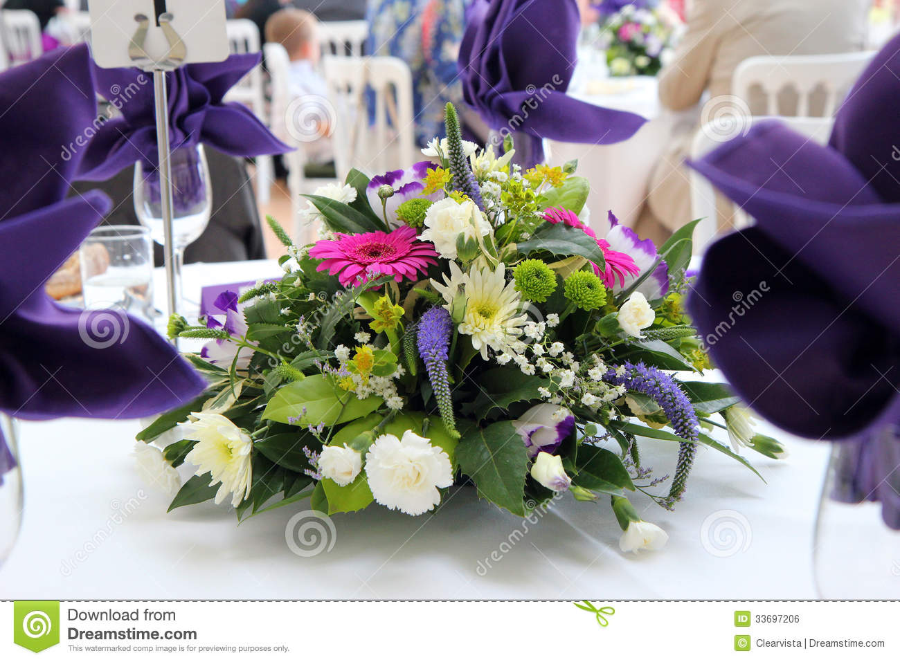 Table Flower Decoration At A Wedding. Stock Photo