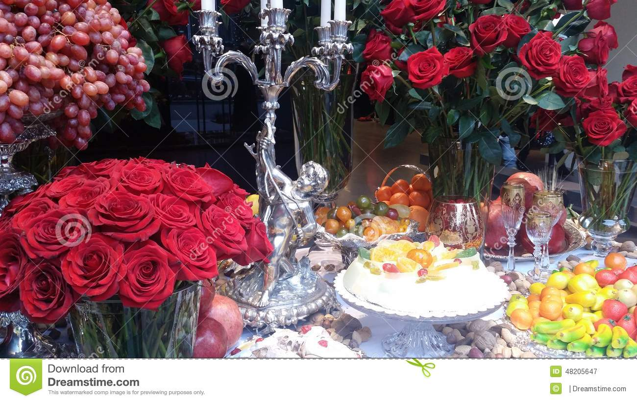 Table of Food and fruits