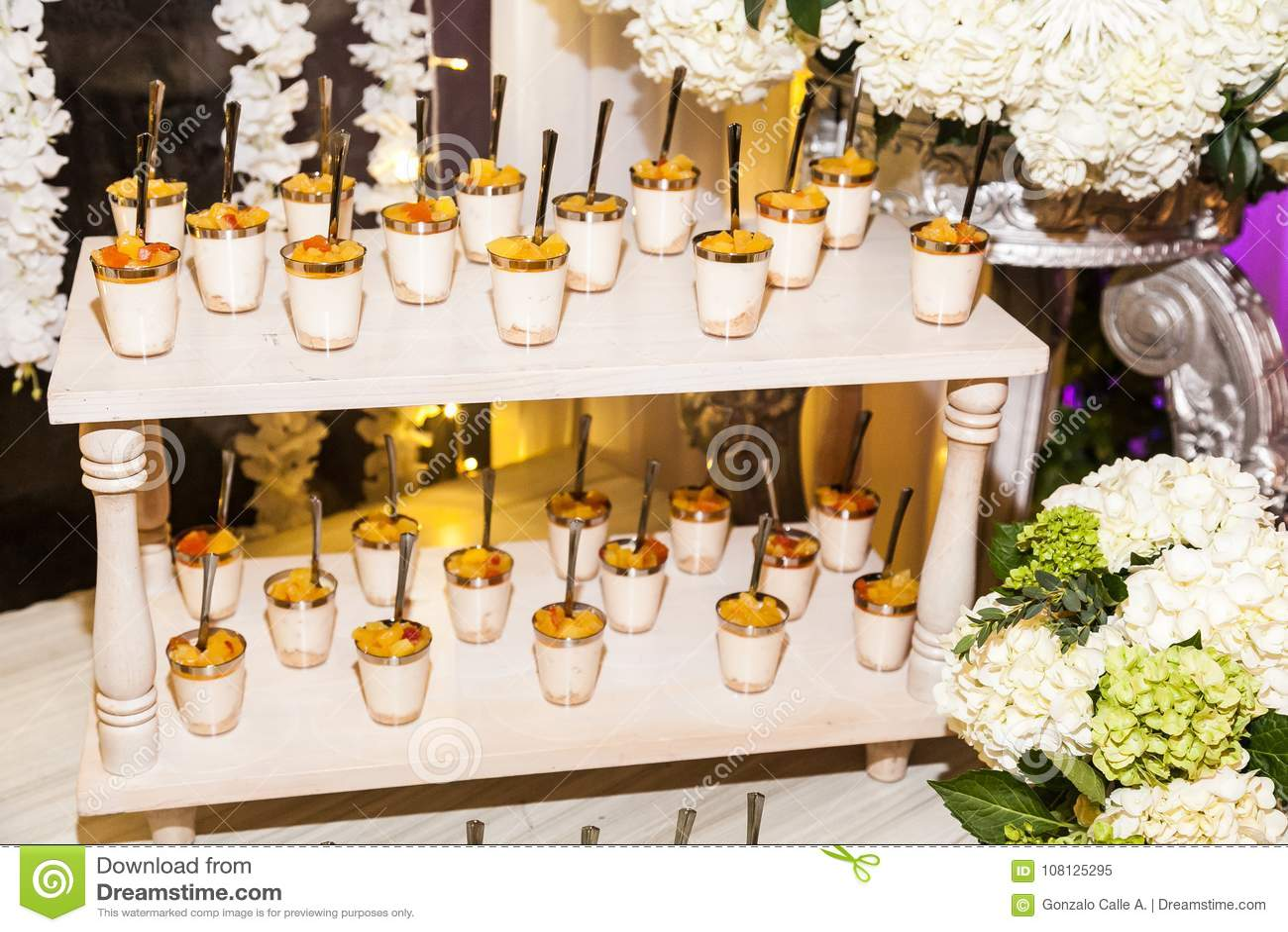 Delicious Wedding Reception Candy Bar Dessert Table Stock Image