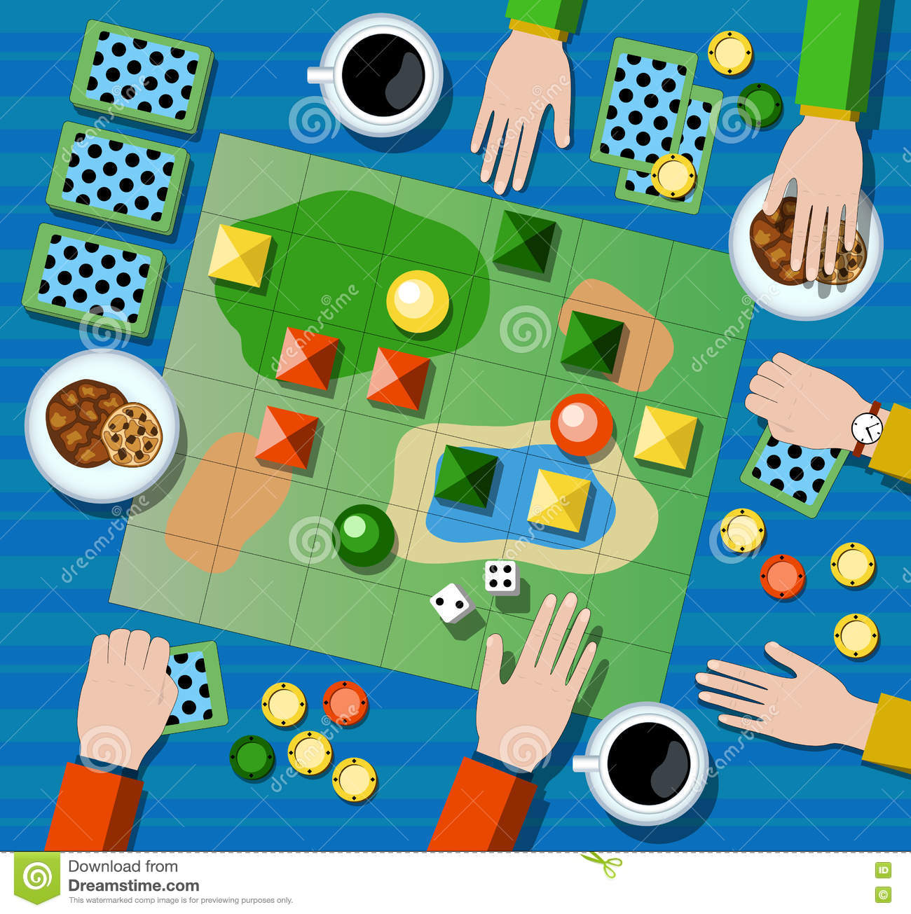 Table game flat illustration. Family board game with player`s hands.