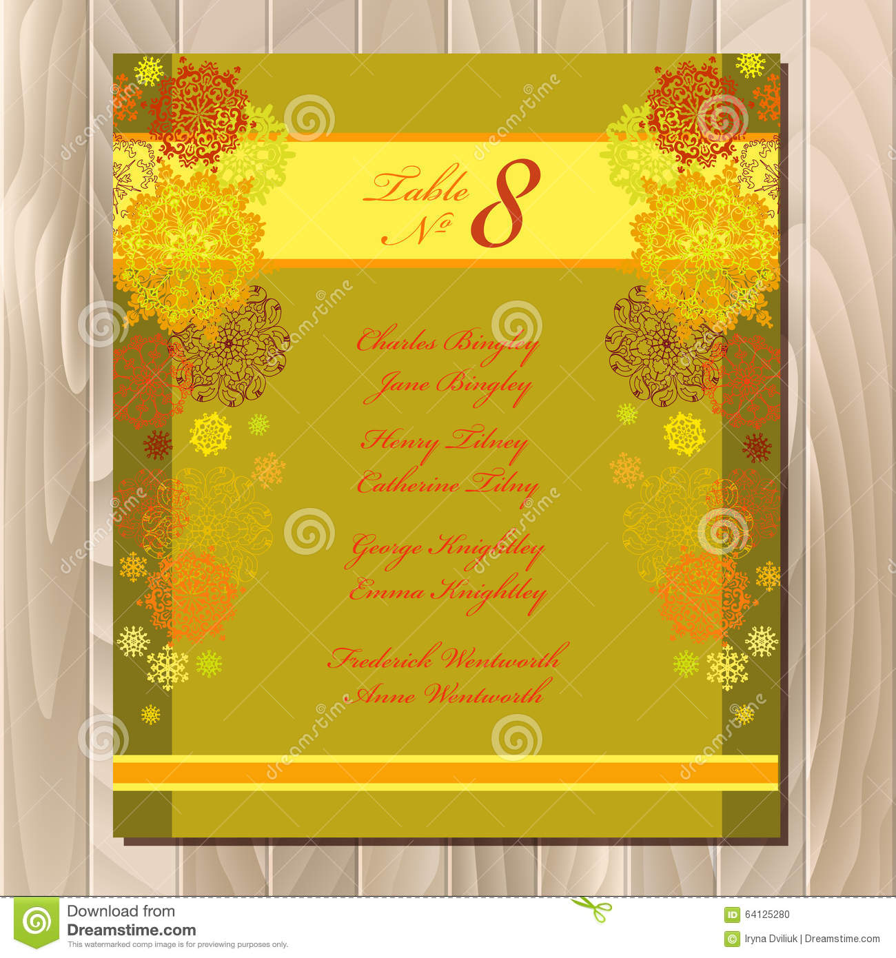 table guest list vector background with winter snowflakes wedding