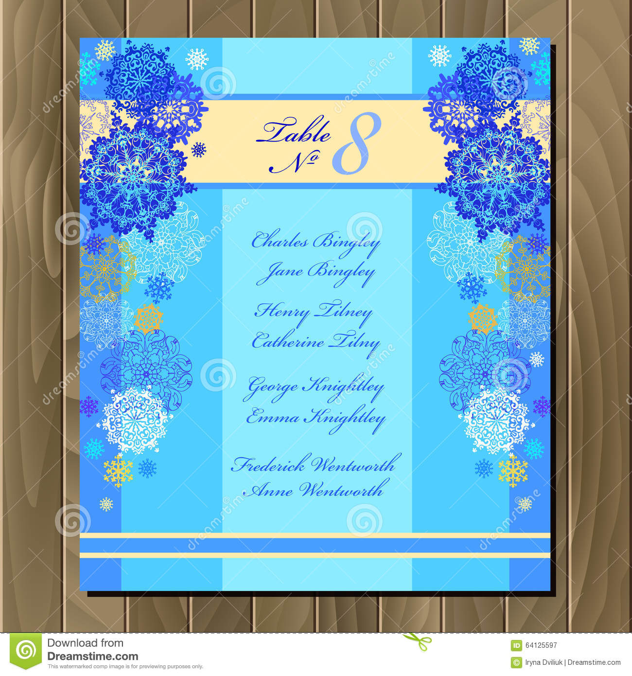Table Guest List. Vector Background With Winter Snowflakes