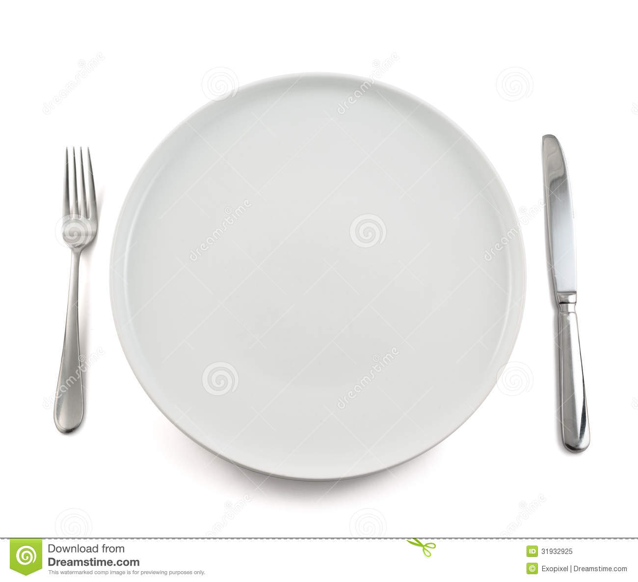 An empty white dish with knife and fork on a table - Background Ceramic Dinner Dish Empty Fork Isolated Knife Plate Table Top View White