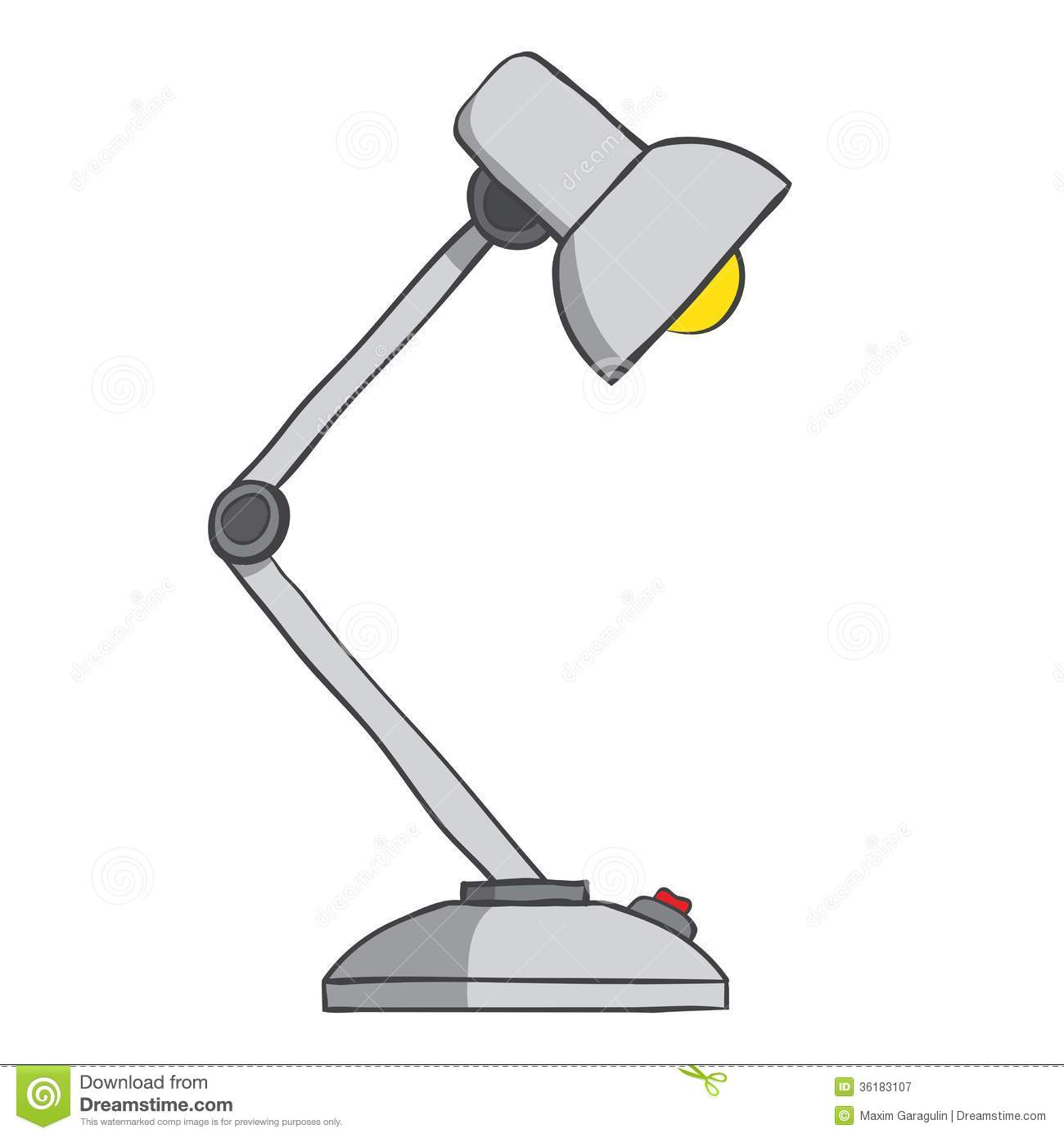 Table Lamp With Button On White Background Vector Royalty