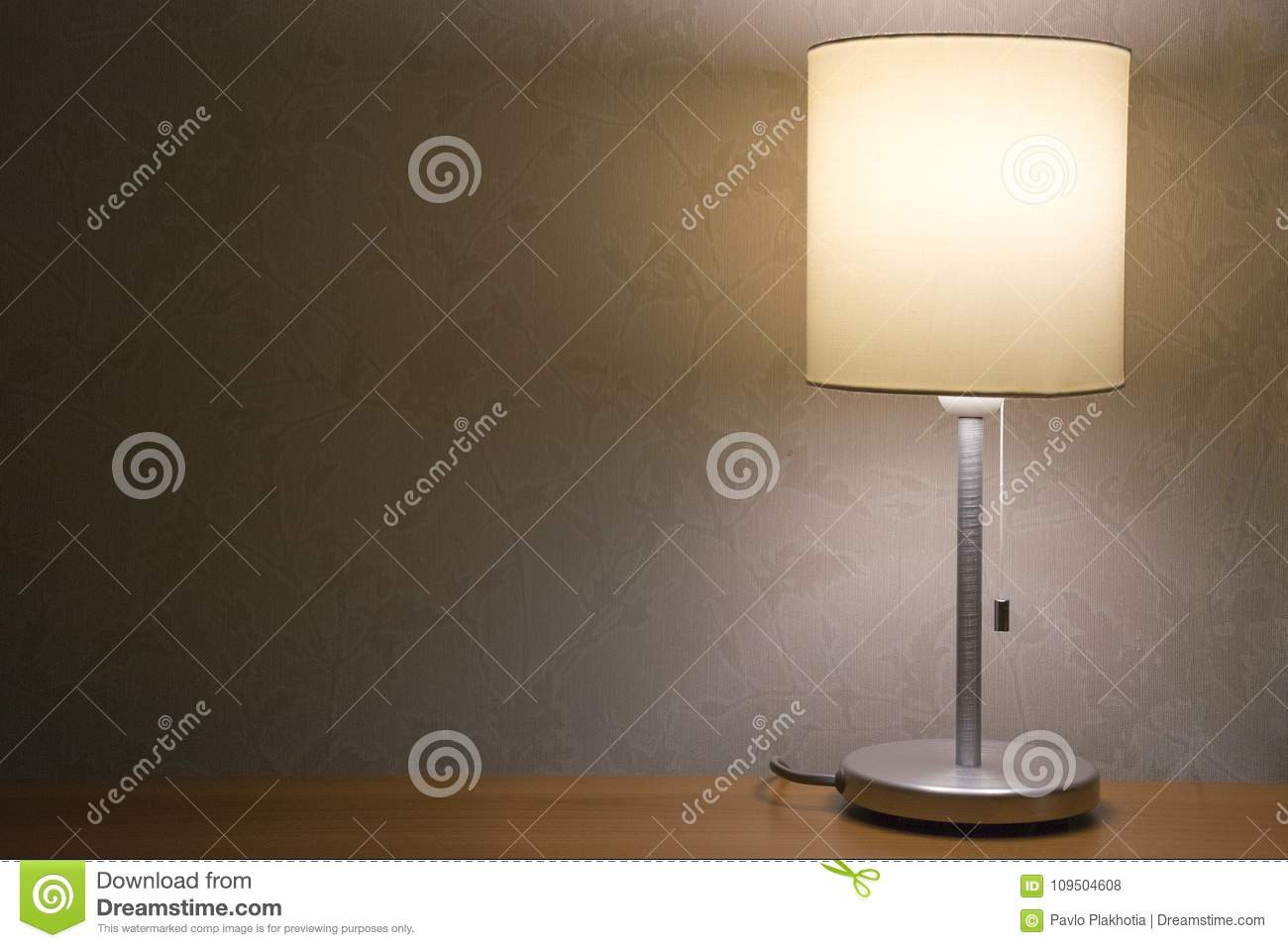 Table Lamp Over White Wall Background Modern Minimalistic Night