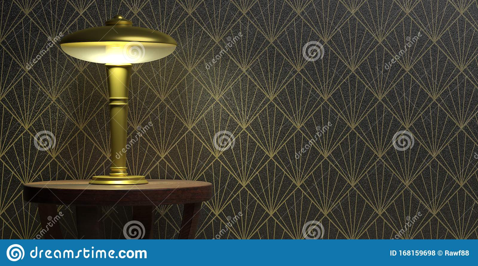 Table Lamp On Wallpaper Black Color Background Art Deco Style Decoration 3d Illustration Stock Illustration Illustration Of Fashioned Illuminated 168159698