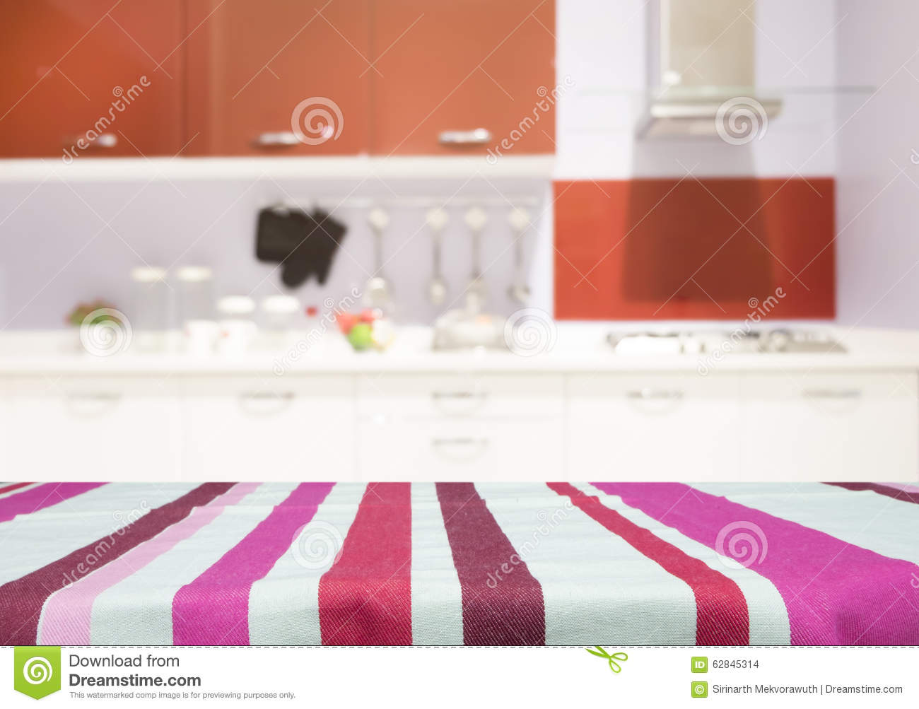 Kitchen Present Table With Linen Tablecloth For Present Product On Kitchen Blur