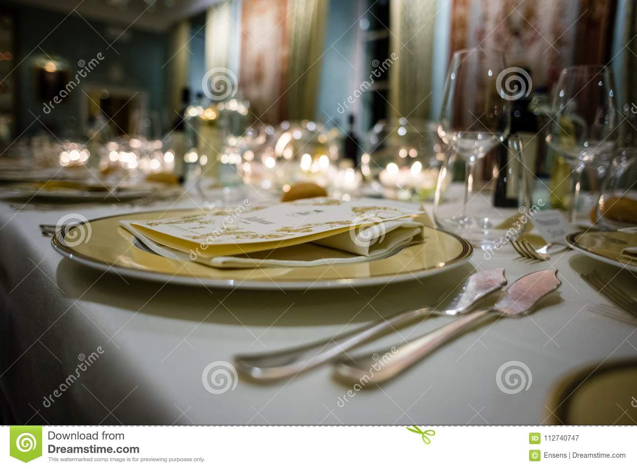 Table In A Luxury Restaurant Set For A Gala Dinner Stock Image