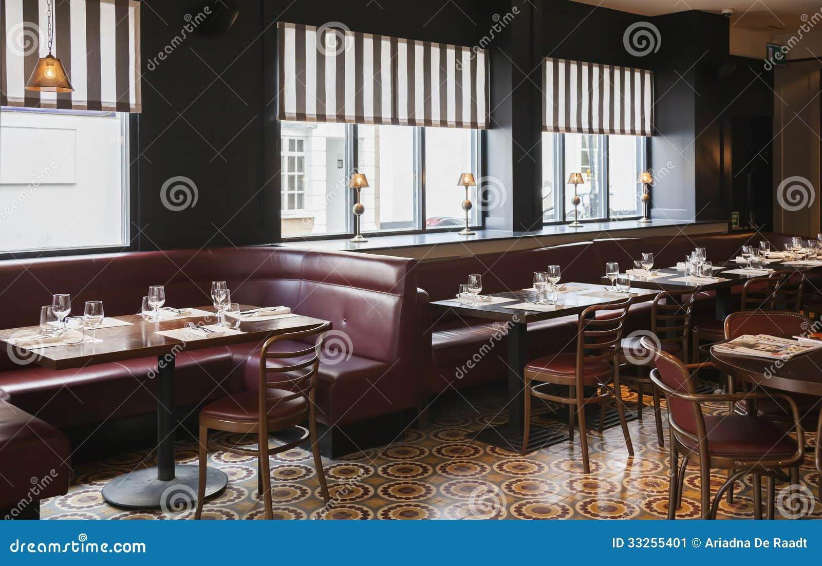 Table in modern restaurant