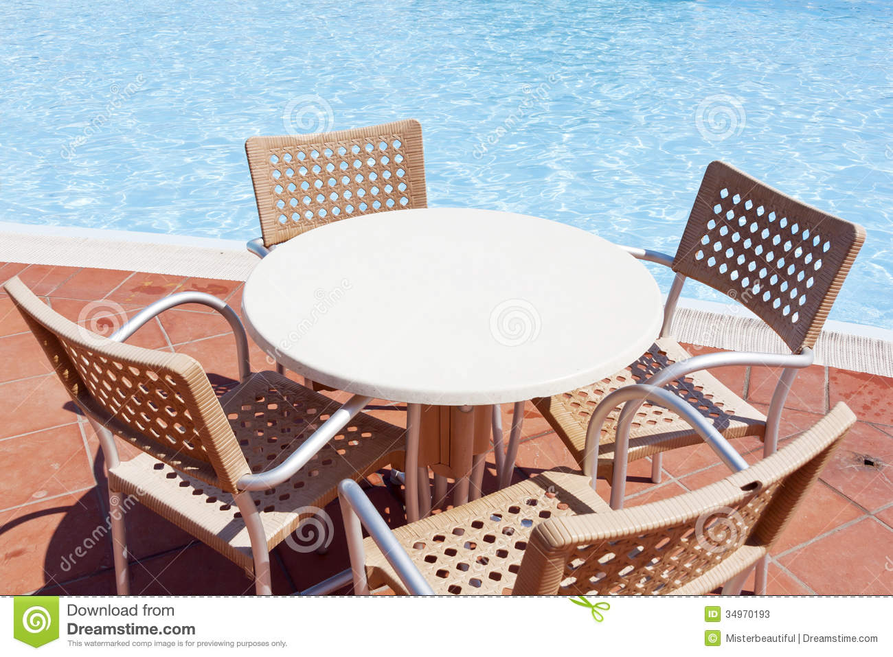 Royalty Free Stock Photo. Download Table Near The Swimming Pool ...
