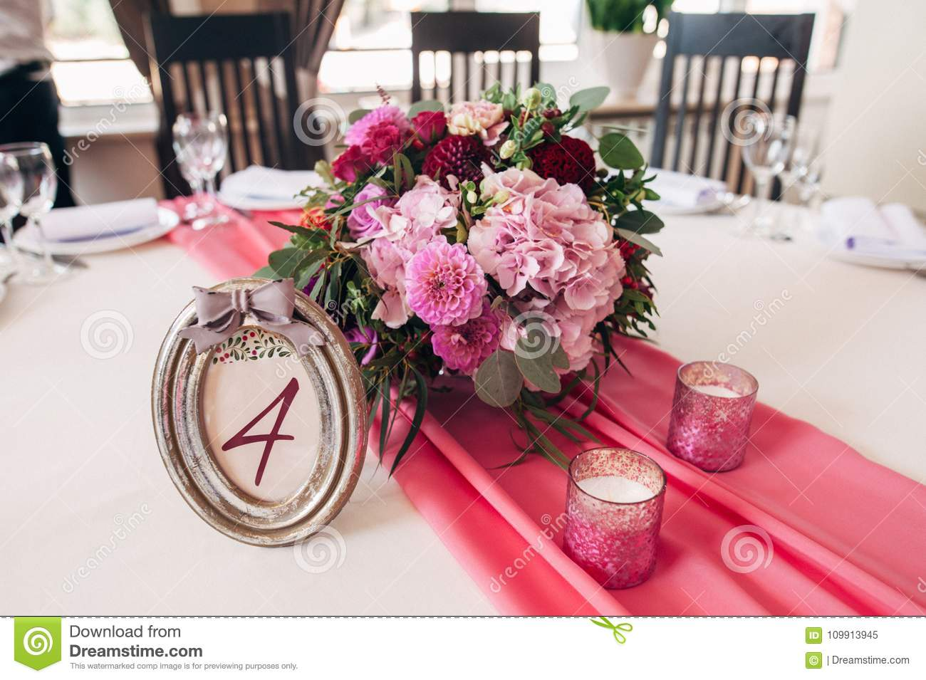 Table Number In Silver Frame With A Numeral Four Stock Image - Image ...