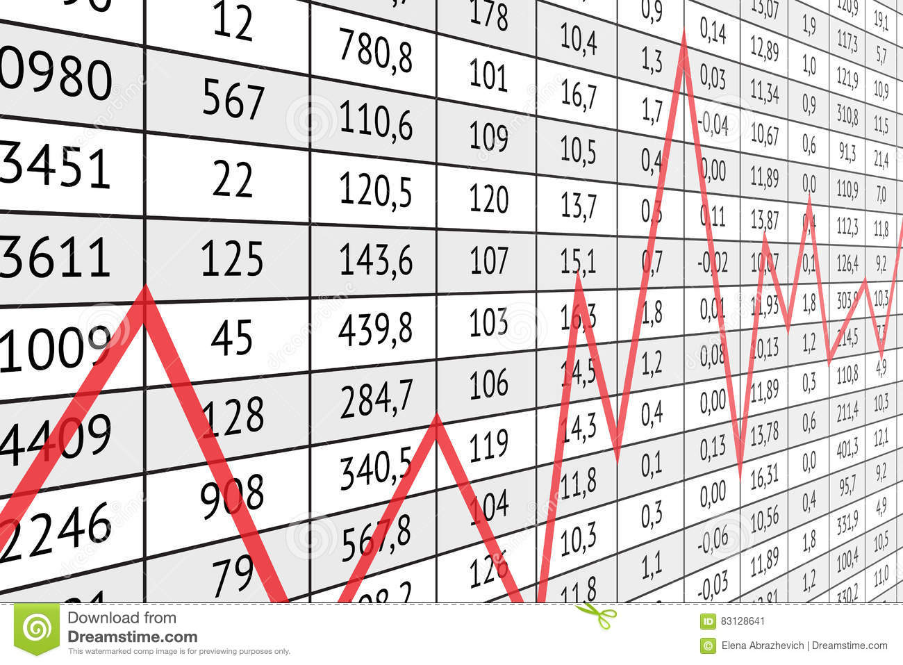 Admirable Table With Numerical Data And Red Graph Line Stock Vector Download Free Architecture Designs Scobabritishbridgeorg