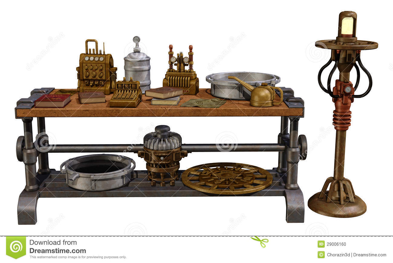 Table with old objects stock illustration illustration of for Old objects