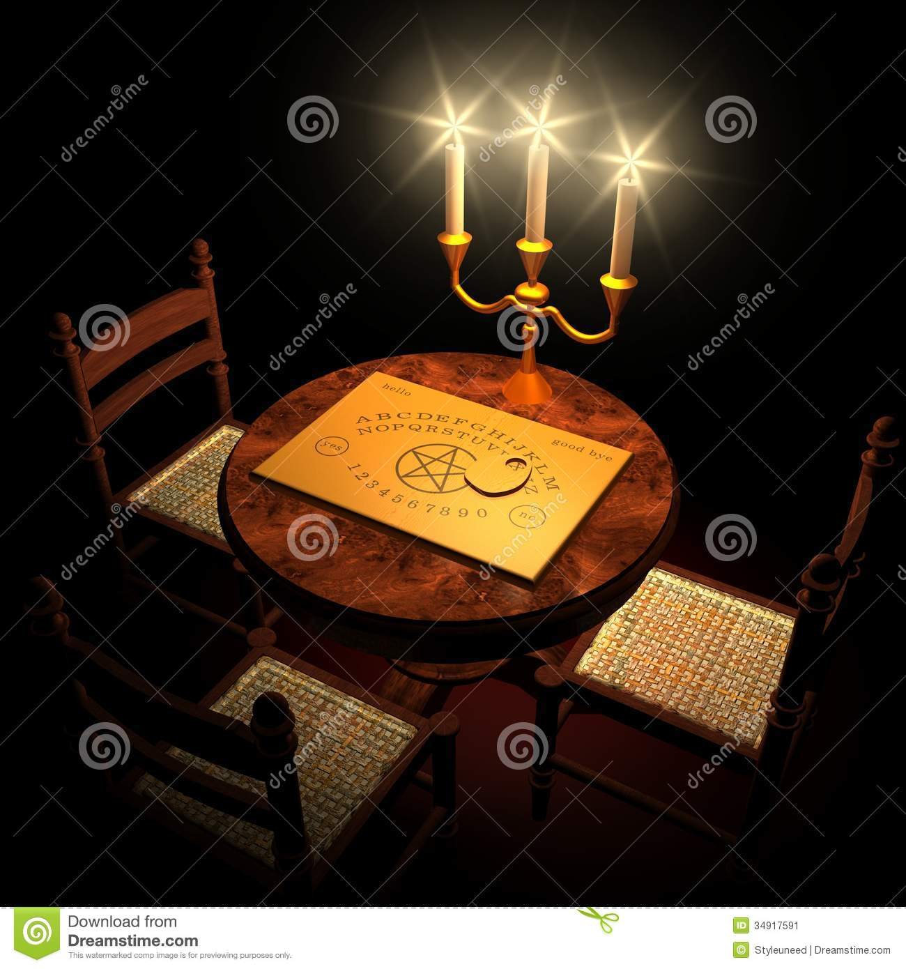 Table With Ouija Board And Candles Stock Image - Image: 34917591
