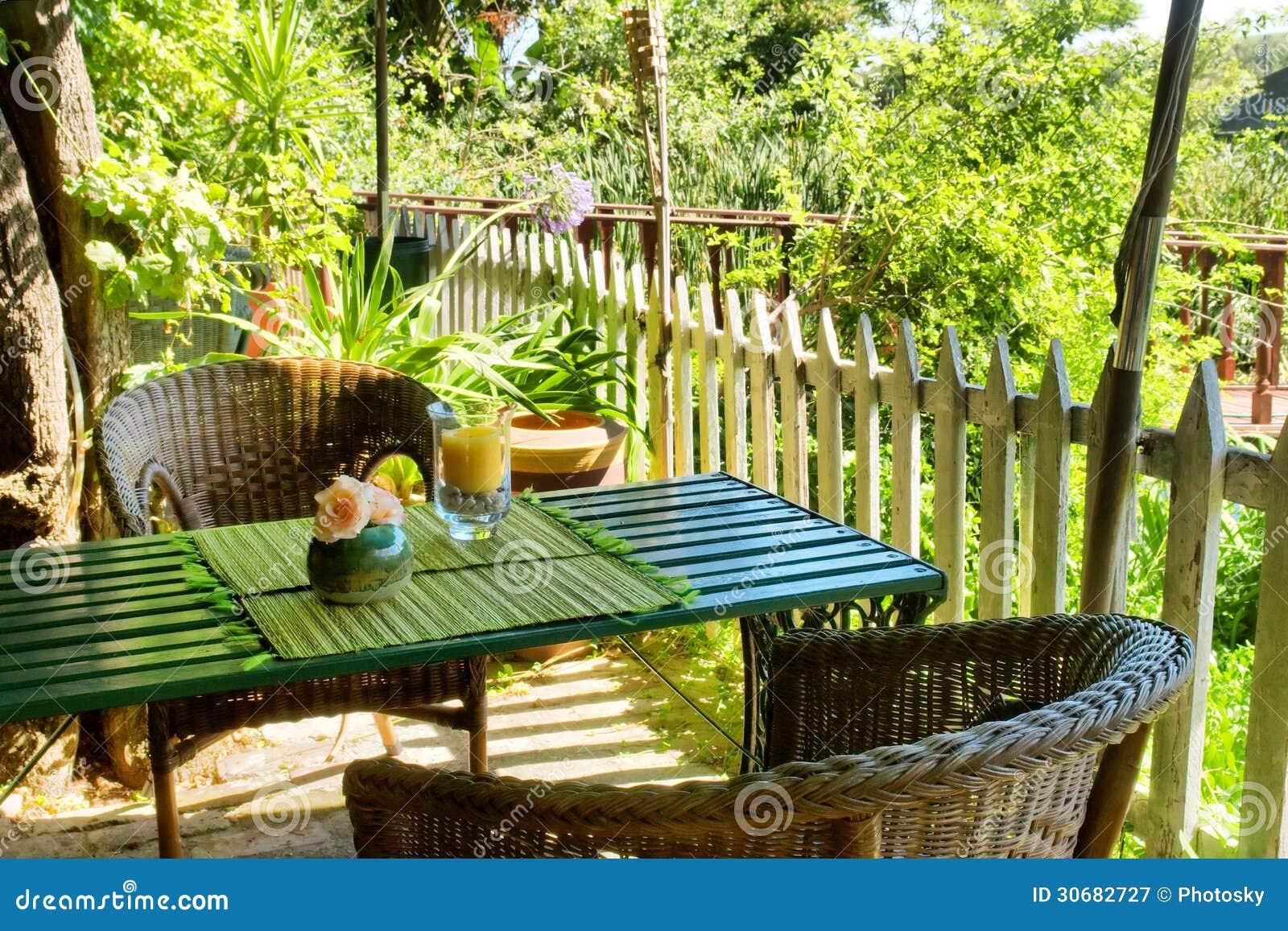 Table in outdoor Thai restaurant