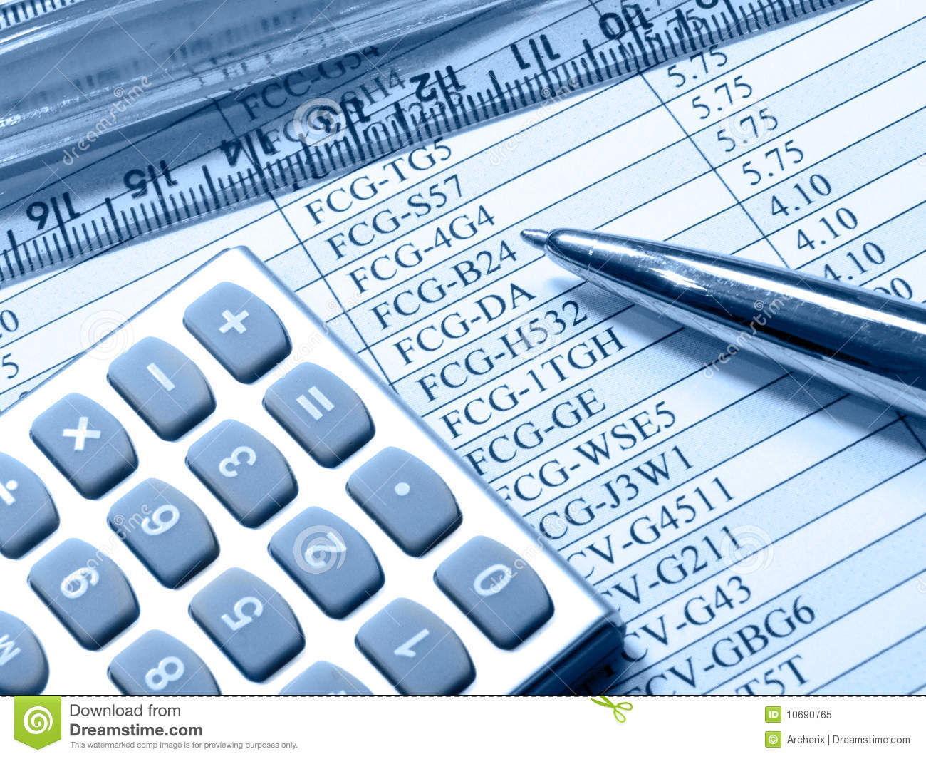 Download Table, Pen, Ruler And Calculator (blue) Stock Image - Image of funds, statistic: 10690765