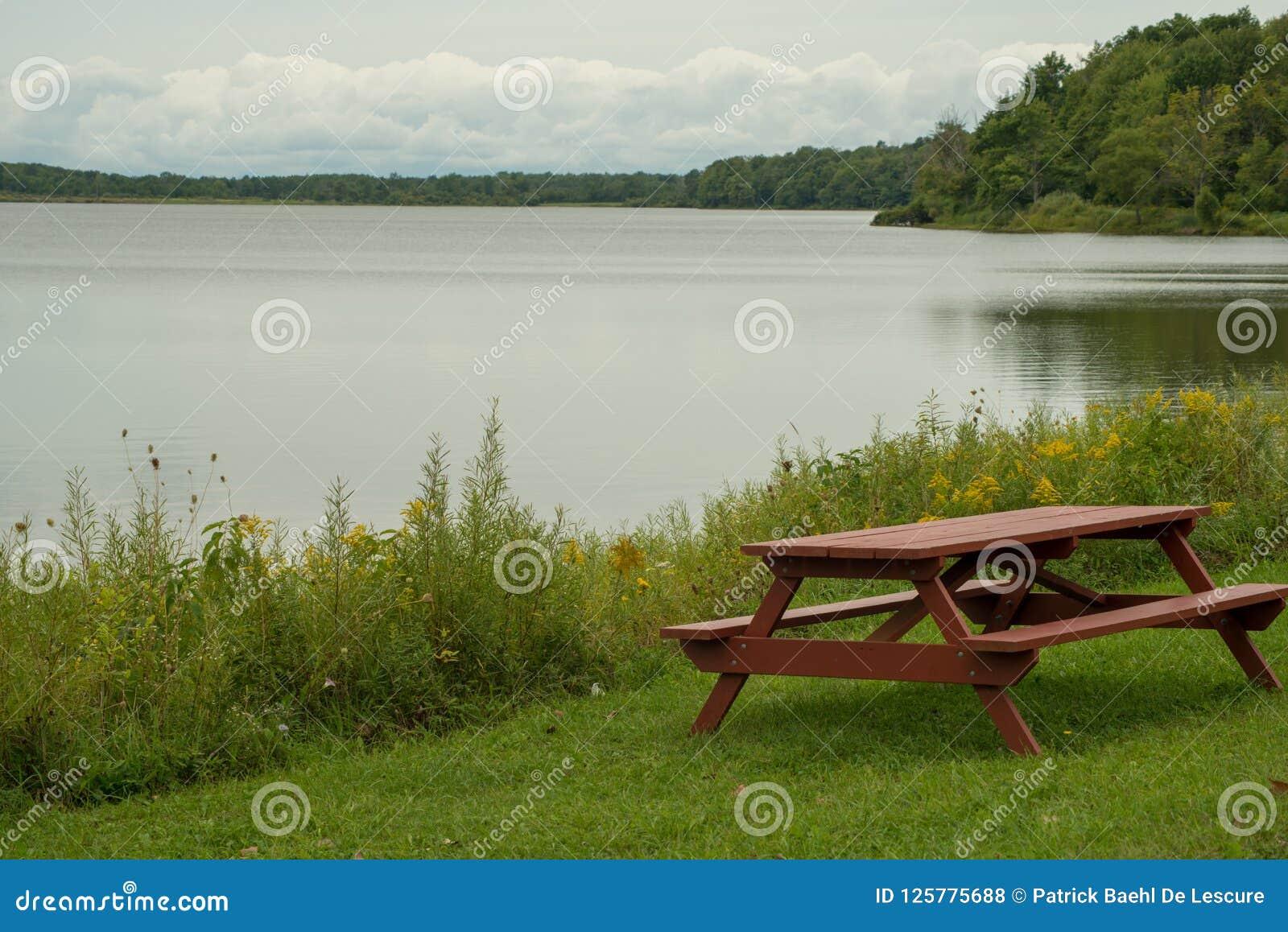 Table pinique sur l au bord du lac