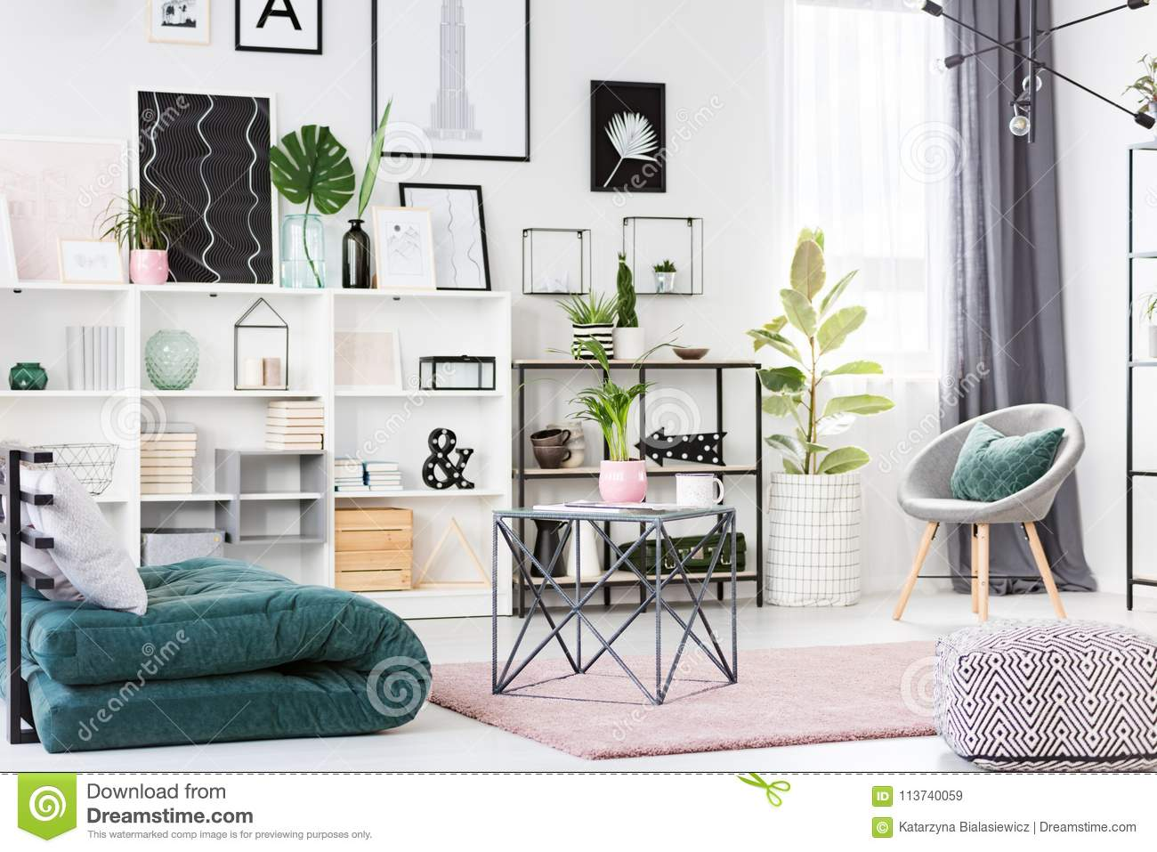 Green and pink living room stock image. Image of design ...