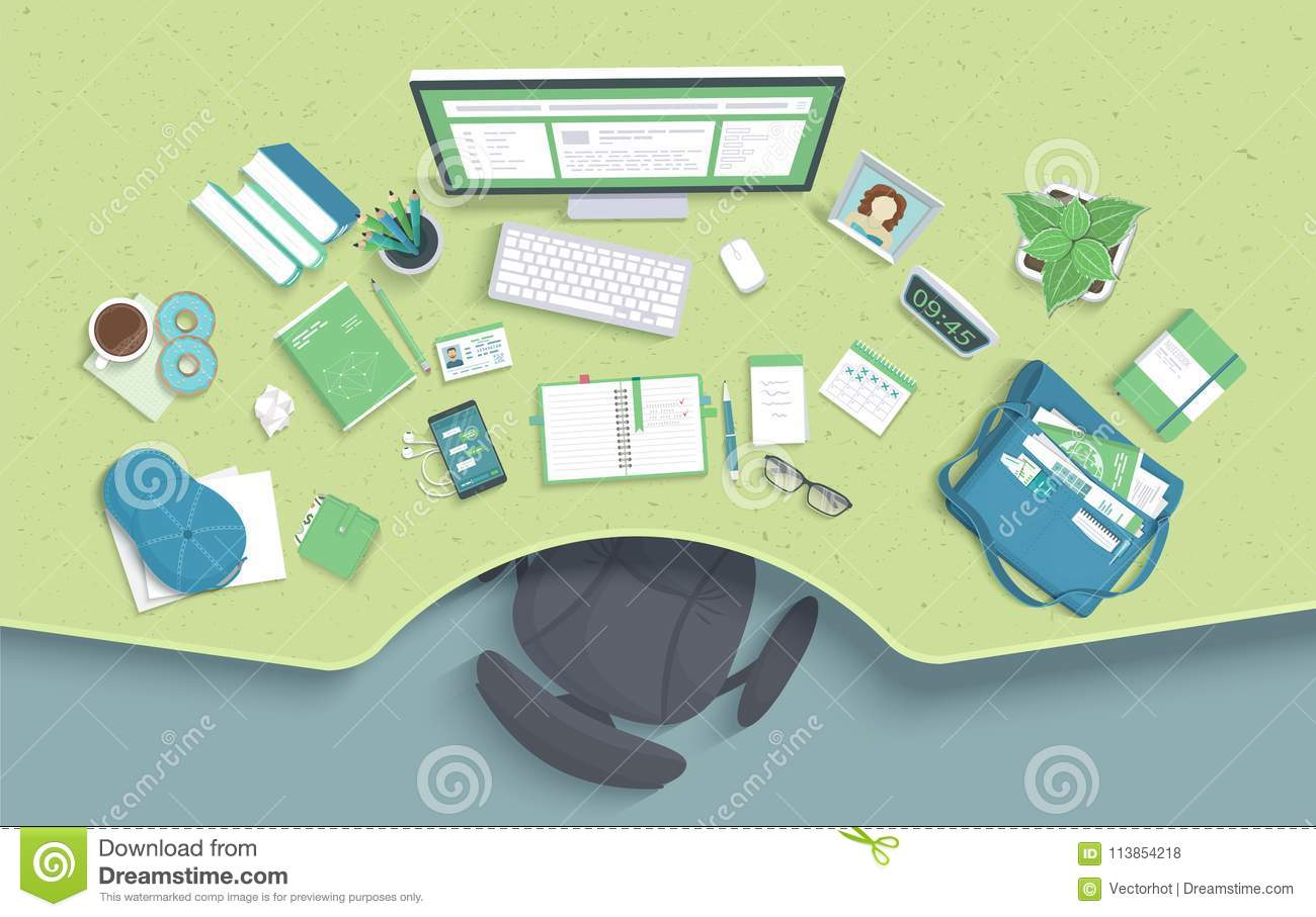 Table with recess, chair, monitor, books, notebook, headphones, phone. Modern and stylish workplace. Vector