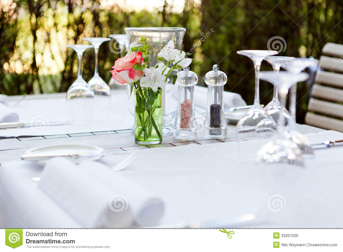 Table in restaurant tableware glass banquet summer Royalty Free Stock Image & Table In Restaurant Tableware Glass Banquet Summer Stock Photo ...