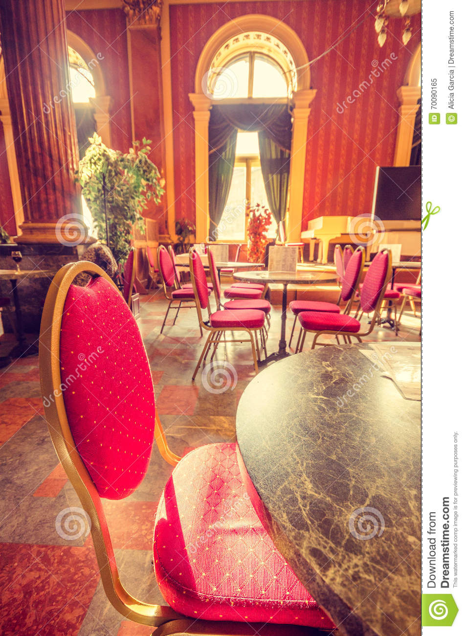 Table At The Restaurant Of The Train Station Editorial Image - Image ...