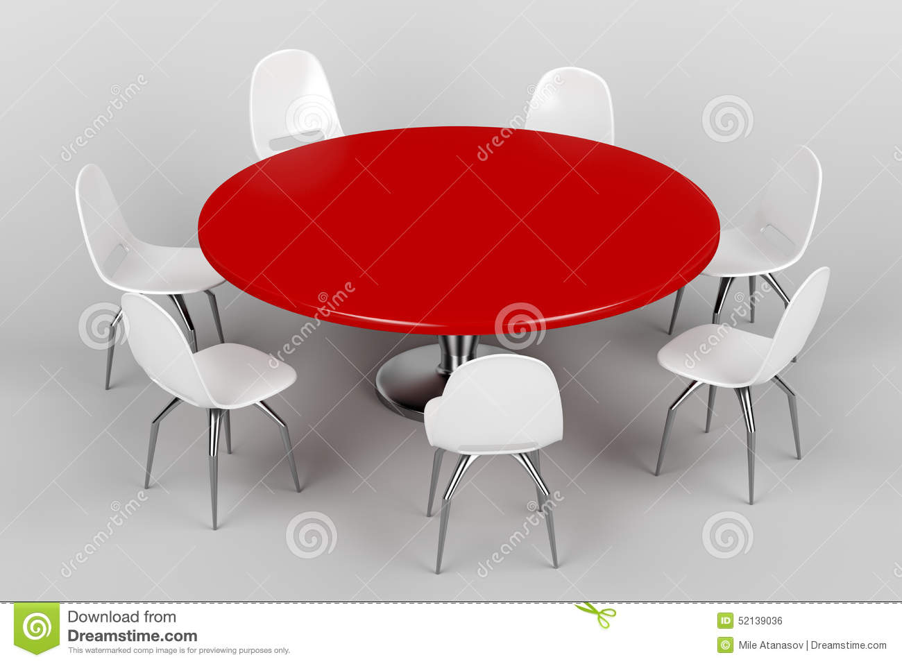 Table ronde rouge et chaises blanches illustration stock for Table ronde et chaises