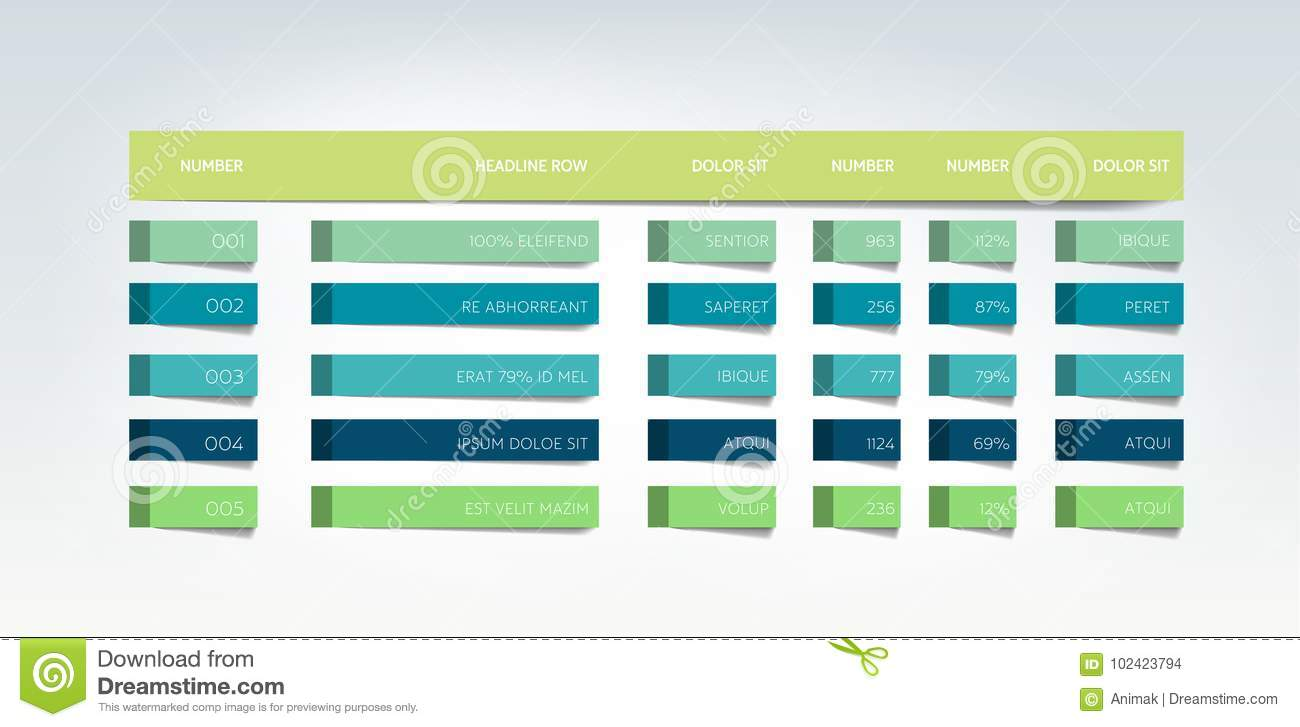 Table Schedule Tab Planner Infographic Design Template Stock