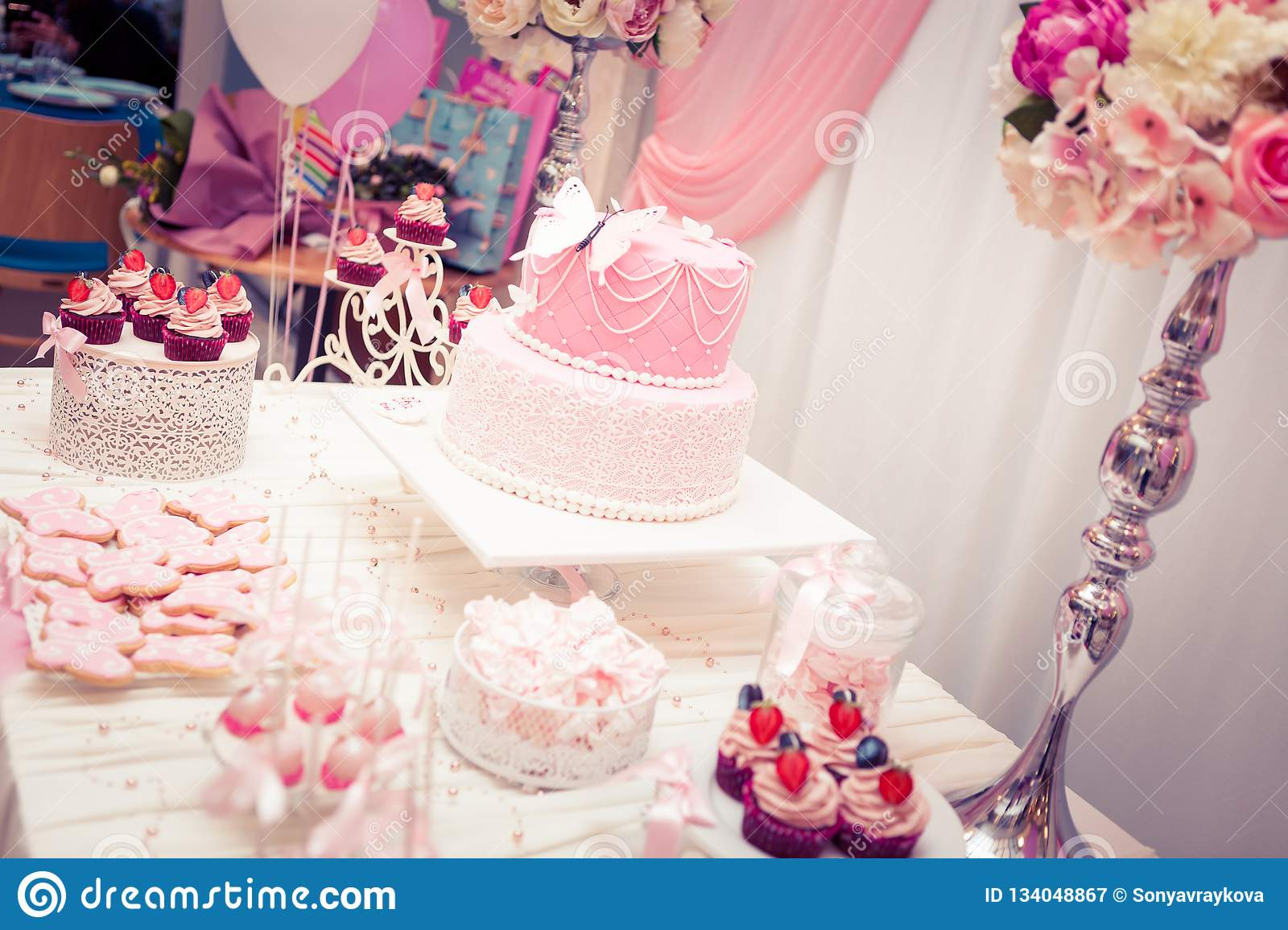 Baby Girl First Birthday Party , Luxury Table Stock Image