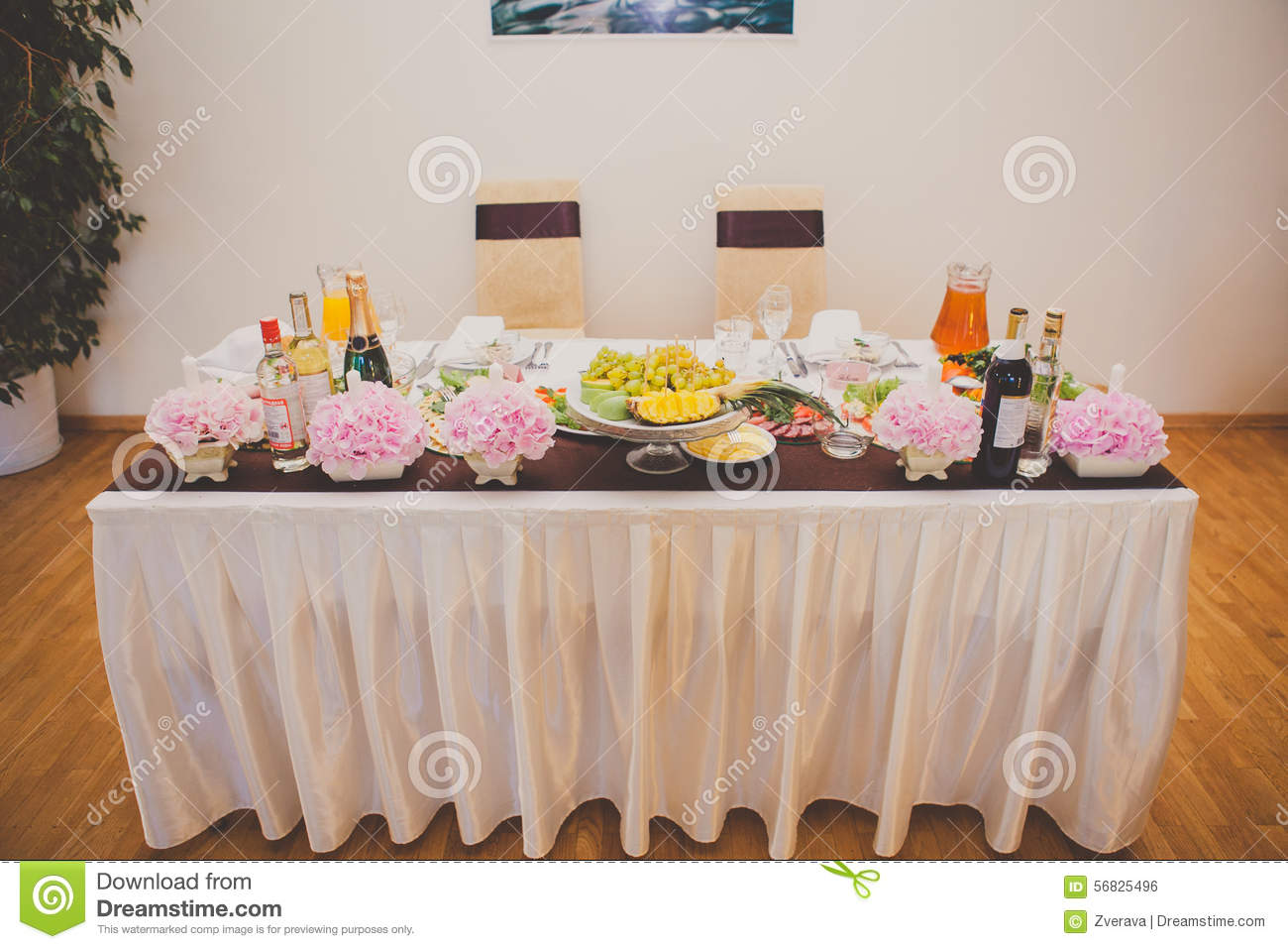 Table Set For Bride And Groom Decorated Wedding Stock Photo Image