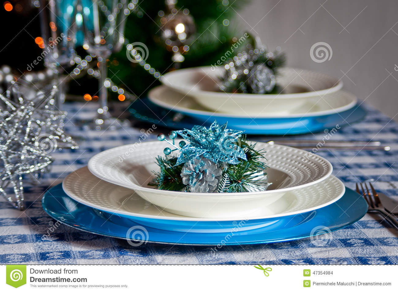 Table Set For Christmas Dinner With Decoration Blue And