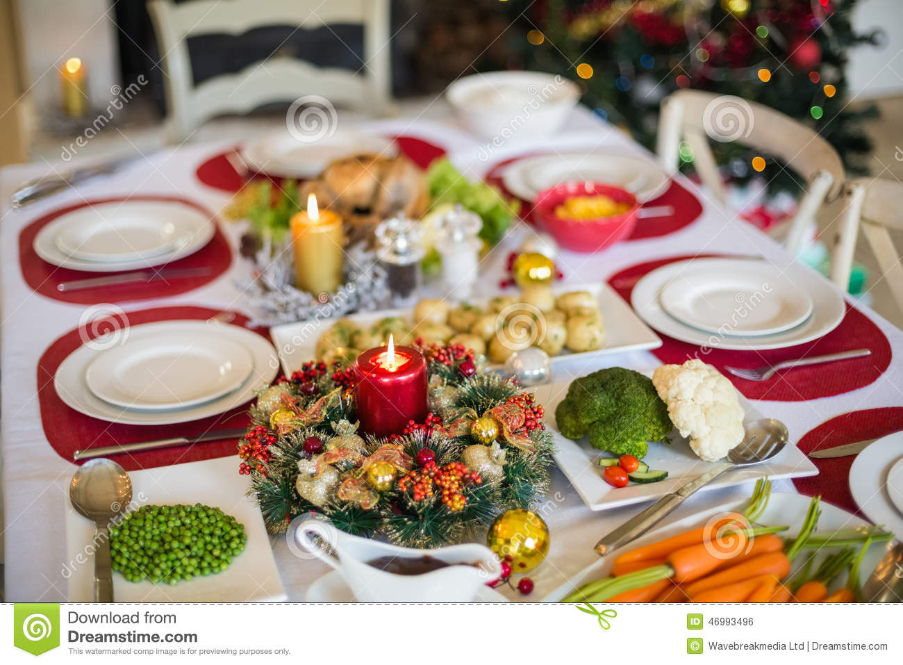 Table Set For Christmas Dinner Stock Image