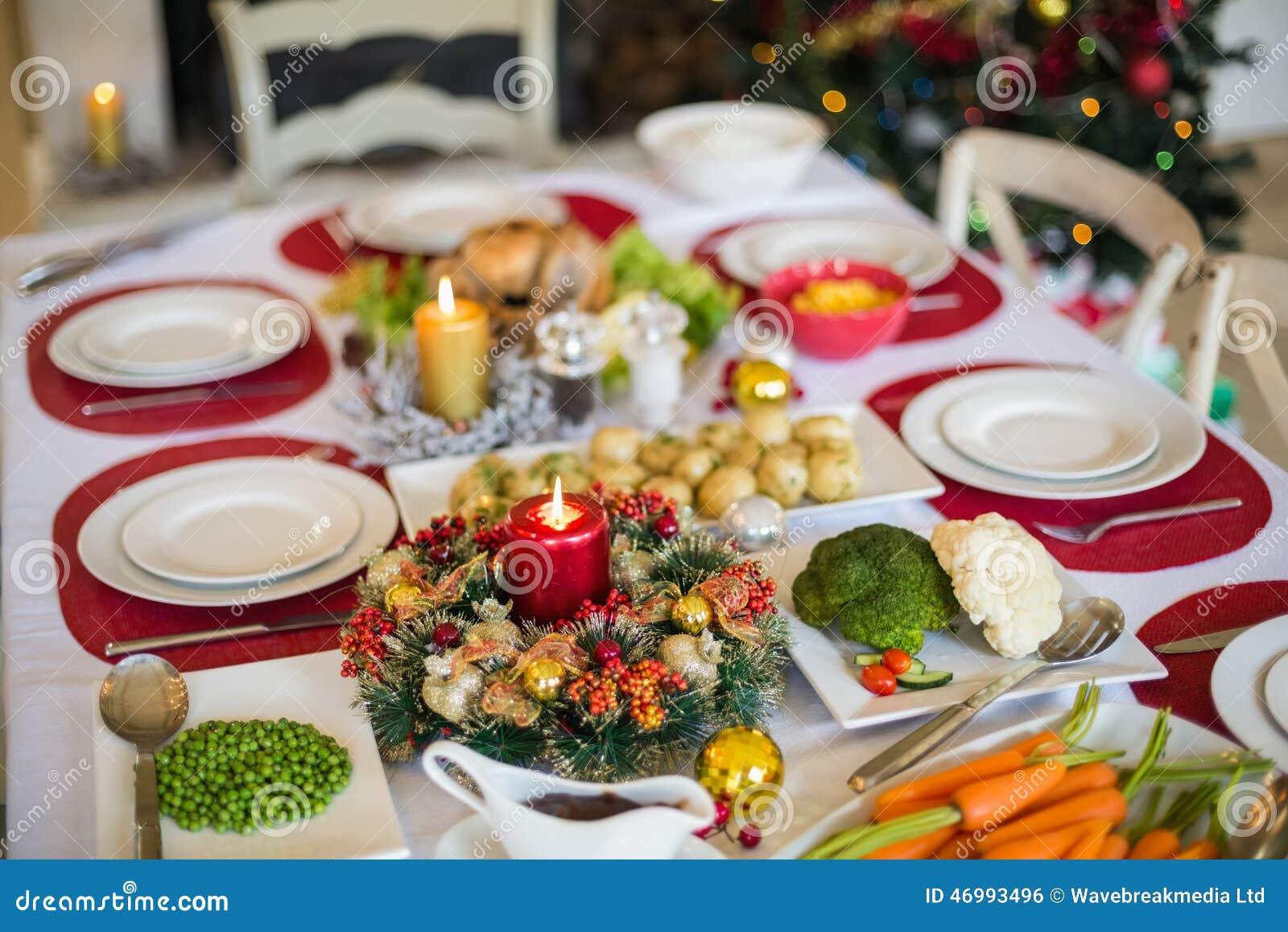 Table Set For Christmas Dinner Stock Photo Image 46993496