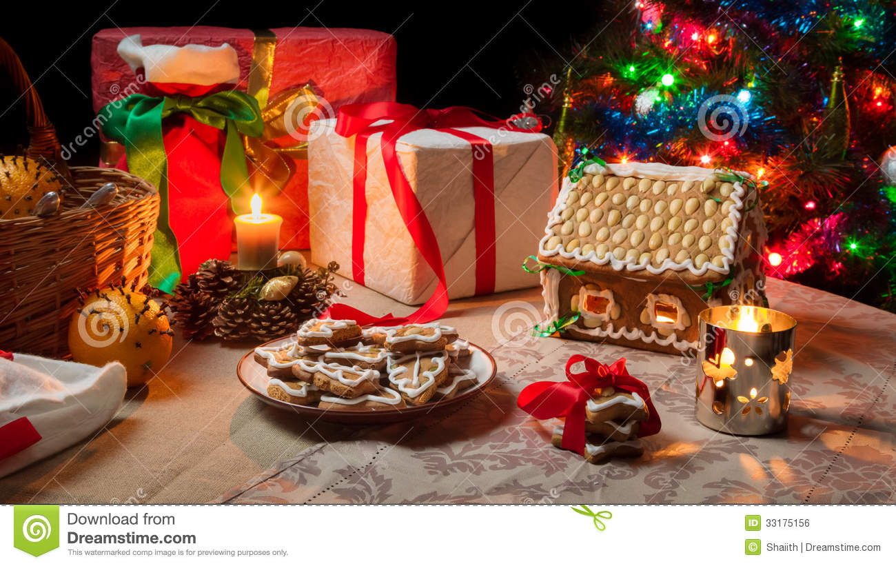 Table set with christmas gifts royalty free stock image - Table gifts for christmas ...