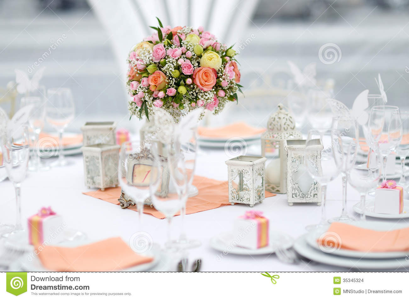 Table Set For An Event Party Or Wedding Reception Stock Photo ...