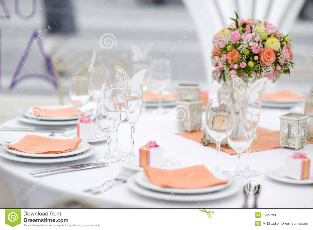 Table Set For An Event Party Or Wedding Reception Royalty