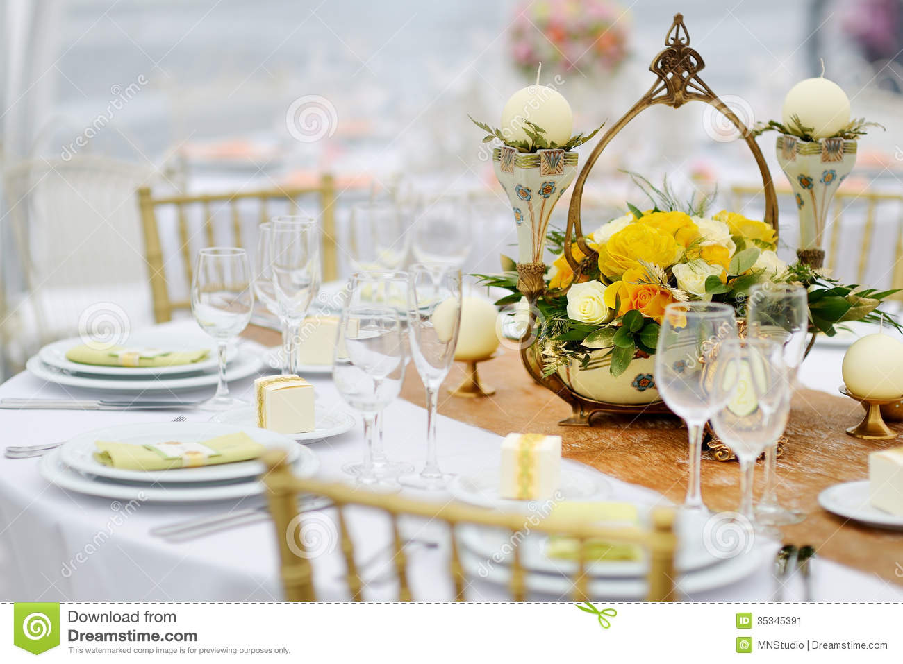 Table Set For An Event Party Or Wedding Reception Stock Image ...