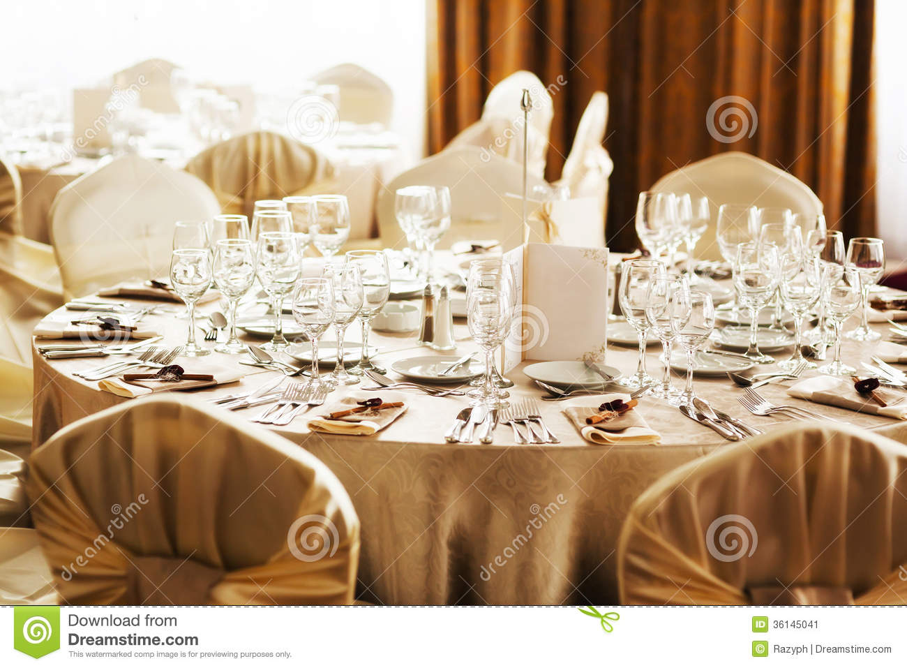 Table set for a special occasion stock image