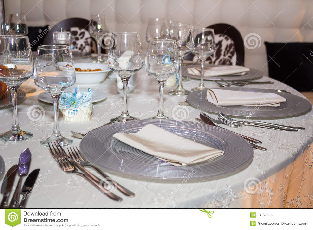 Formal Dining Table Set Up Royalty Free Stock Image