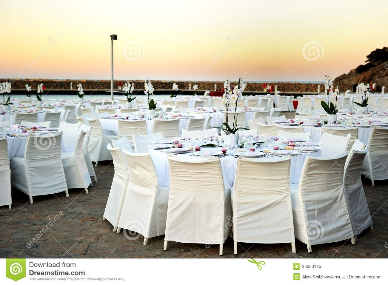 Table Set Up At The Beach Wedding Royalty Free Stock Photo ...