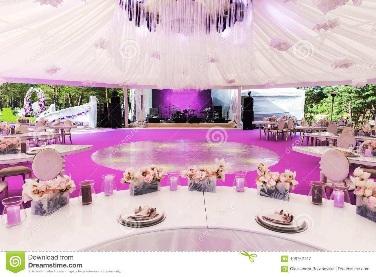 Table Set For Wedding Or Another Catered Event Dinner And Large ...