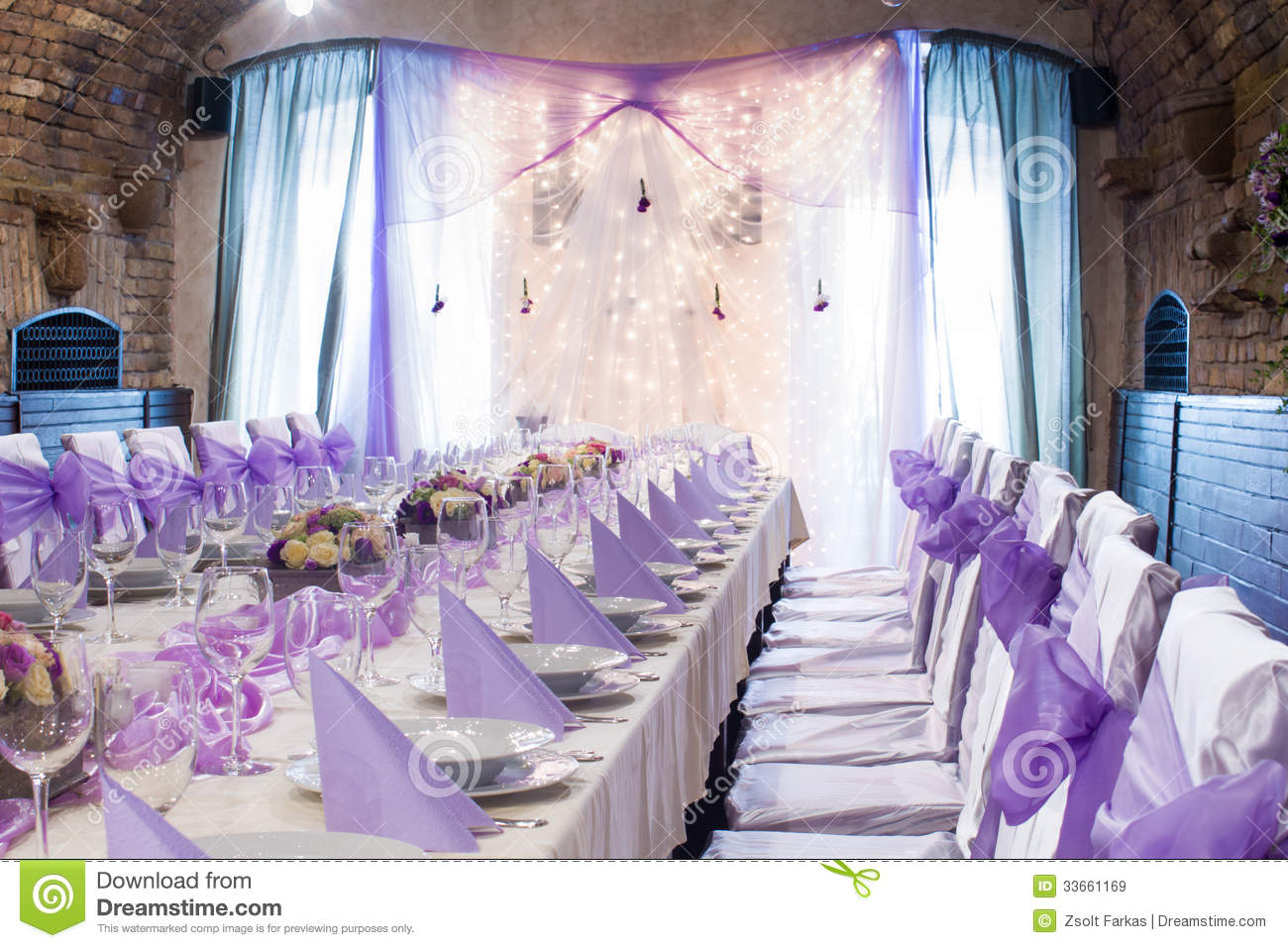 Table Set For Wedding Or Another Catered Event Dinner Stock Image