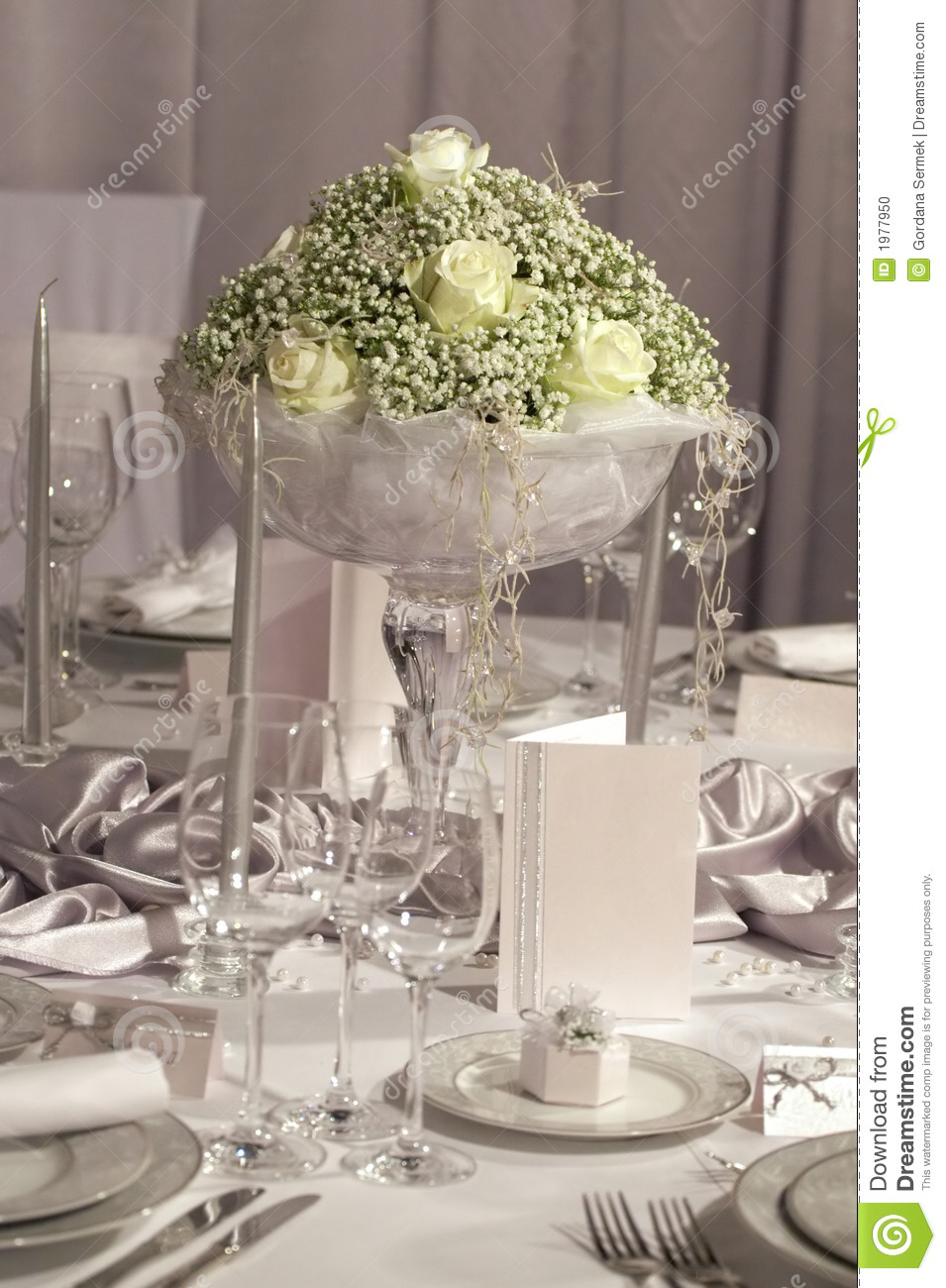 Table Set For Wedding Dinner Stock Photo Image 1977950