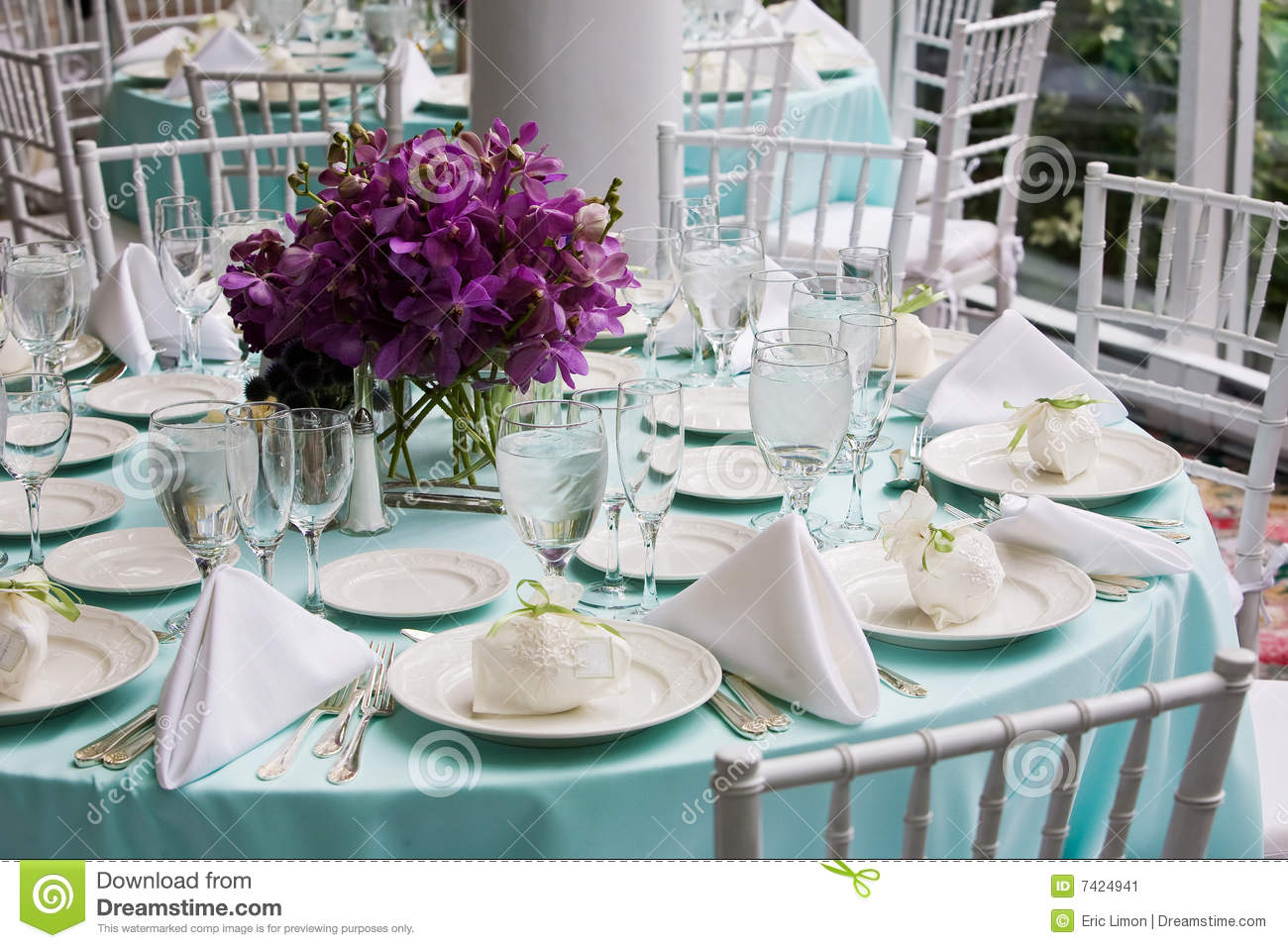 Table Set For A Wedding Reception Stock Image - Image of plate ...