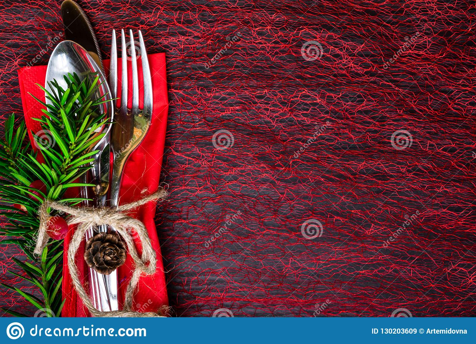 Table Set With A Winter Christmas Decoration Winter Holiday