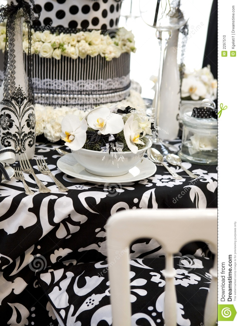Table Setting Black And White Stock Photo Image 2297510