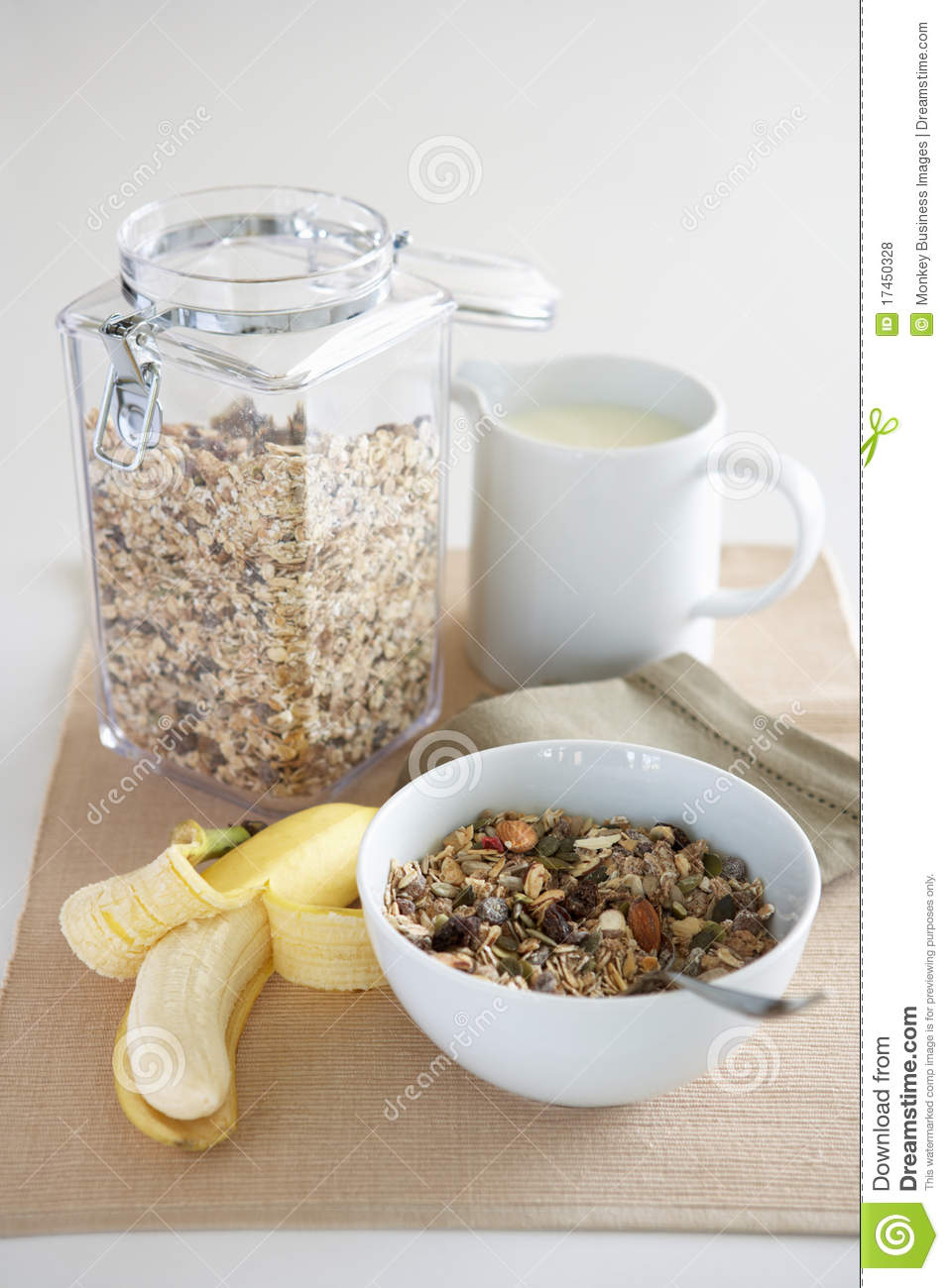 Table Setting For Breakfast A Table Setting Of Breakfast Foods Royalty Free Stock Photos